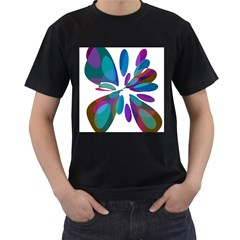 Blue Abstract Flower Men s T-shirt (black) (two Sided) by Valentinaart