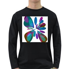 Blue Abstract Flower Long Sleeve Dark T Shirts by Valentinaart