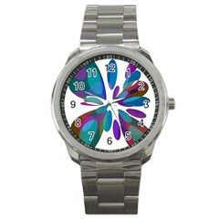 Blue Abstract Flower Sport Metal Watch by Valentinaart
