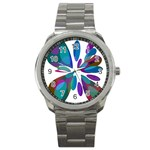 Blue abstract flower Sport Metal Watch Front