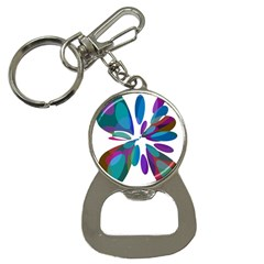 Blue Abstract Flower Bottle Opener Key Chains by Valentinaart