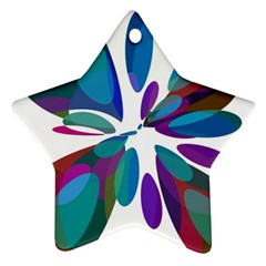Blue Abstract Flower Star Ornament (two Sides)