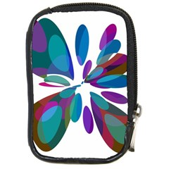 Blue Abstract Flower Compact Camera Cases by Valentinaart