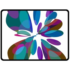 Blue Abstract Flower Fleece Blanket (large)  by Valentinaart