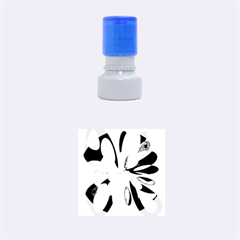 Blue Abstract Flower Rubber Round Stamps (small) by Valentinaart