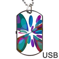 Blue Abstract Flower Dog Tag Usb Flash (two Sides)  by Valentinaart