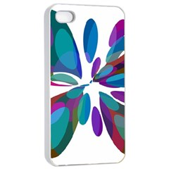 Blue Abstract Flower Apple Iphone 4/4s Seamless Case (white) by Valentinaart