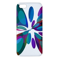 Blue Abstract Flower Apple Iphone 5 Premium Hardshell Case by Valentinaart