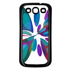 Blue Abstract Flower Samsung Galaxy S3 Back Case (black) by Valentinaart