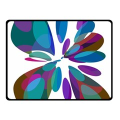 Blue Abstract Flower Double Sided Fleece Blanket (small)  by Valentinaart