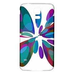 Blue Abstract Flower Samsung Galaxy S5 Back Case (white) by Valentinaart