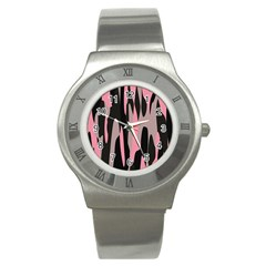 Pink And Black Camouflage Abstract Stainless Steel Watch by TRENDYcouture