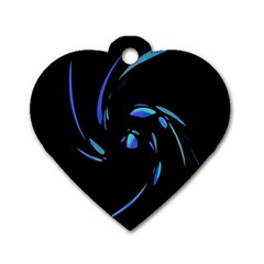 Blue Twist Dog Tag Heart (one Side) by Valentinaart