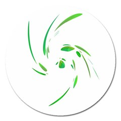Green Twist Magnet 5  (round) by Valentinaart