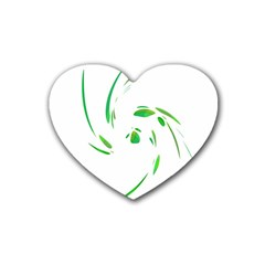 Green Twist Rubber Coaster (heart)  by Valentinaart