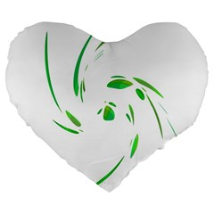 Green Twist Large 19  Premium Heart Shape Cushions by Valentinaart