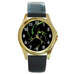 Green Twist Round Gold Metal Watch by Valentinaart