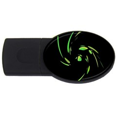 Green Twist Usb Flash Drive Oval (4 Gb)  by Valentinaart