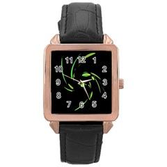 Green Twist Rose Gold Leather Watch  by Valentinaart