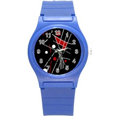 Artistic Abstraction Round Plastic Sport Watch (s) by Valentinaart