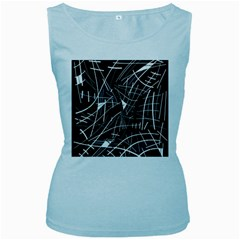 Gray Abstraction Women s Baby Blue Tank Top by Valentinaart