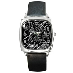 Gray Abstraction Square Metal Watch by Valentinaart