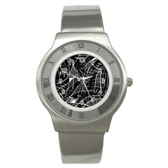 Gray Abstraction Stainless Steel Watch by Valentinaart