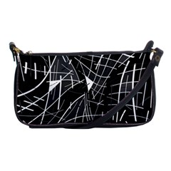 Gray Abstraction Shoulder Clutch Bags by Valentinaart