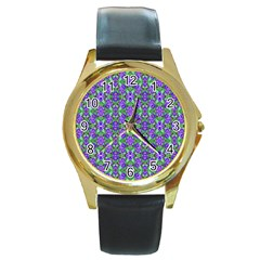Pretty Purple Flowers Pattern Round Gold Metal Watch by BrightVibesDesign