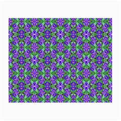 Pretty Purple Flowers Pattern Small Glasses Cloth (2 Side) by BrightVibesDesign