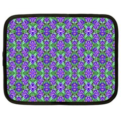 Pretty Purple Flowers Pattern Netbook Case (xl)  by BrightVibesDesign