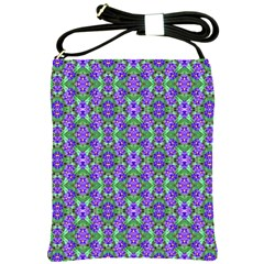 Pretty Purple Flowers Pattern Shoulder Sling Bags by BrightVibesDesign