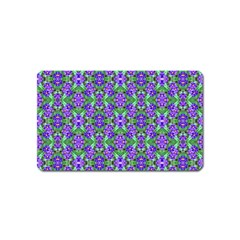 Pretty Purple Flowers Pattern Magnet (name Card) by BrightVibesDesign