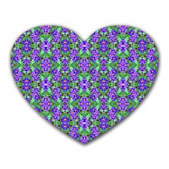 Pretty Purple Flowers Pattern Heart Mousepads by BrightVibesDesign