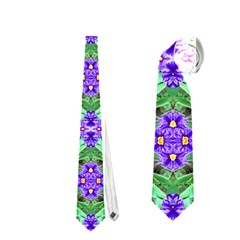 Pretty Purple Flowers Pattern Neckties (one Side)  by BrightVibesDesign