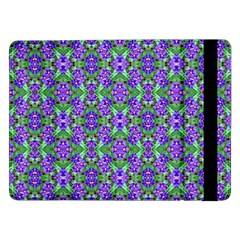 Pretty Purple Flowers Pattern Samsung Galaxy Tab Pro 12 2  Flip Case by BrightVibesDesign
