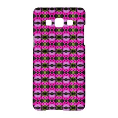 Pretty Pink Flower Pattern Samsung Galaxy A5 Hardshell Case  by BrightVibesDesign