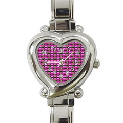 Pretty Pink Flower Pattern Heart Italian Charm Watch by BrightVibesDesign