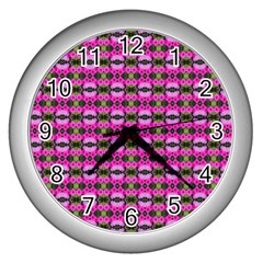 Pretty Pink Flower Pattern Wall Clocks (silver)  by BrightVibesDesign