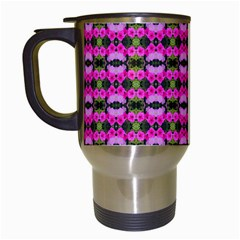 Pretty Pink Flower Pattern Travel Mugs (white) by BrightVibesDesign