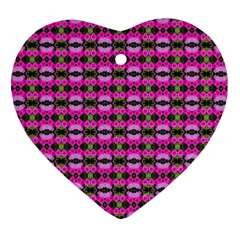 Pretty Pink Flower Pattern Heart Ornament (2 Sides) by BrightVibesDesign