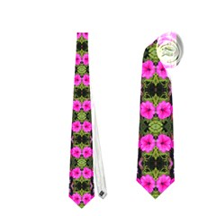 Pretty Pink Flower Pattern Neckties (one Side)  by BrightVibesDesign