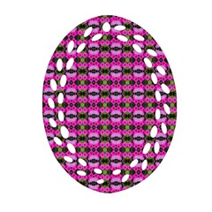 Pretty Pink Flower Pattern Ornament (oval Filigree)  by BrightVibesDesign