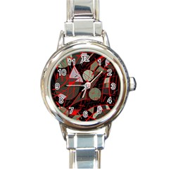 Artistic Abstraction Round Italian Charm Watch by Valentinaart