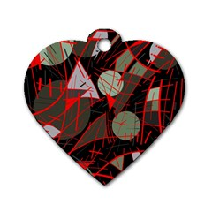 Artistic Abstraction Dog Tag Heart (two Sides) by Valentinaart