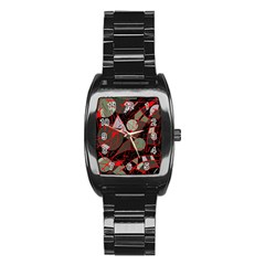 Artistic Abstraction Stainless Steel Barrel Watch by Valentinaart