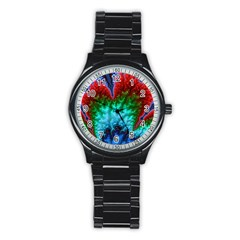 Amazing Special Fractal 25b Stainless Steel Round Watch by Fractalworld