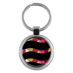 Abstract Waves Key Chains (round)  by Valentinaart