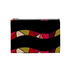 Abstract Waves Cosmetic Bag (medium)  by Valentinaart