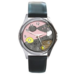 Decorative Abstraction Round Metal Watch by Valentinaart